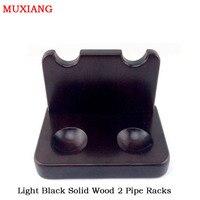 Muxiang massief hout 2 zetels verticale type pijp rekken licht zwart samenstel demontabel pijp stands factory koop fa0018