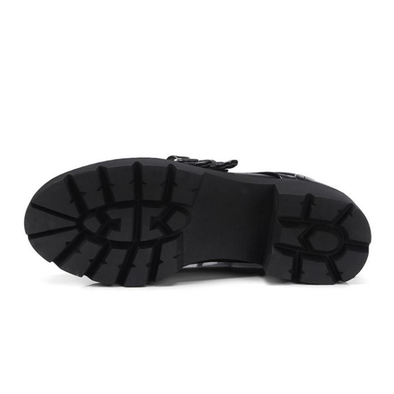 ac008c4bb13907 Haute Taille Bottes Mode Fourrure Femmes Talons Punk Plate Lacets  Chaussures Noir forme Bottines 43 32 ...
