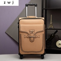 PU Korean luxury brands carry on travel suitcase leather vintage rolling luggage