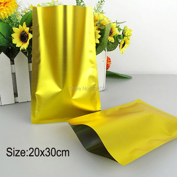 150PCS 20*30cm(7.9''x11.8'')Heat sealing gold plastic bag for tea coffee gift plastic storage pouch gold plastic package bag
