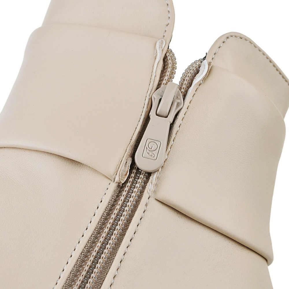 Sonbahar Kış İngiliz Kadın Çizmeler Platformları Kare Topuk yarım çizmeler Katı Deri Moda Motosiklet Botları rhinestone boyutu 42