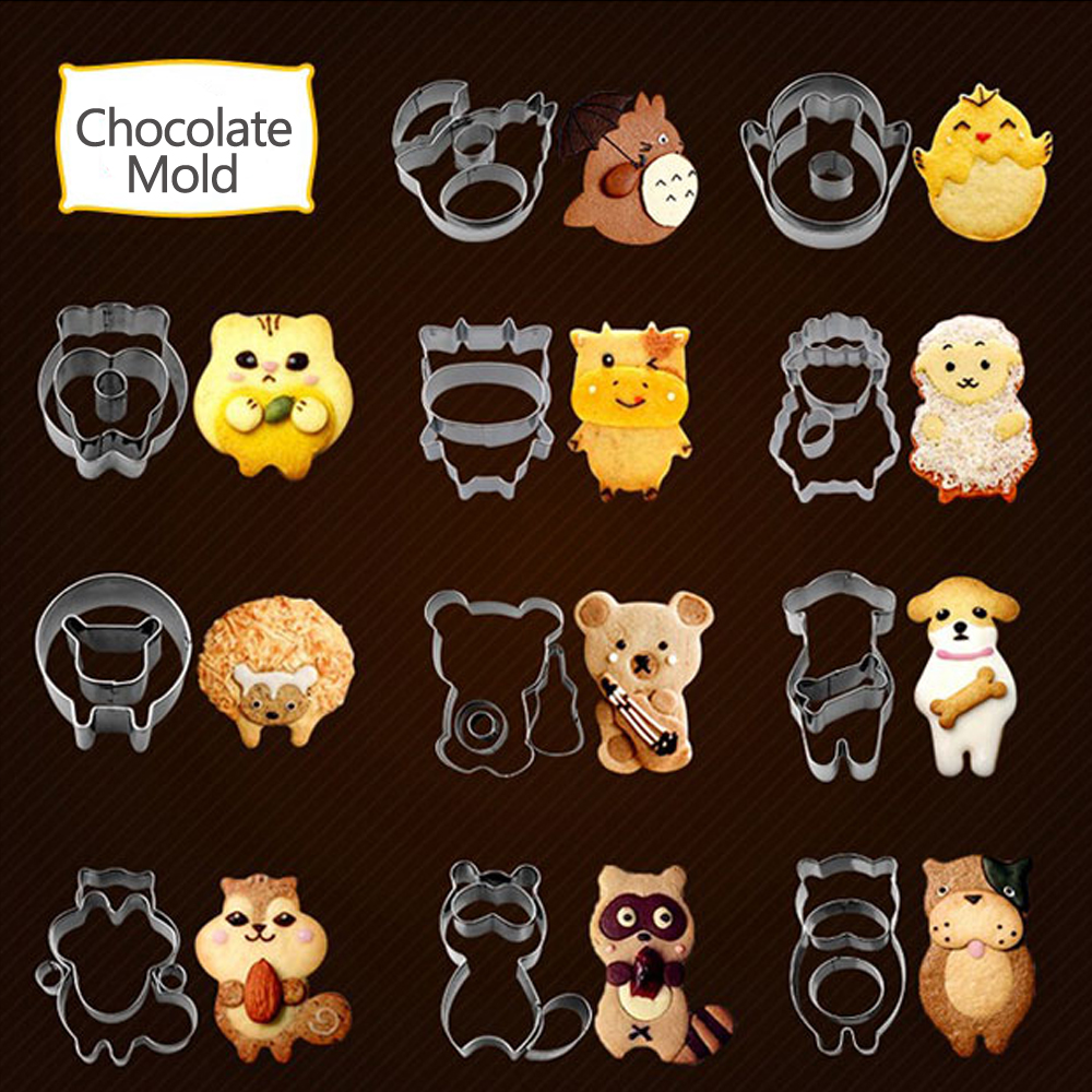 Animal Cookie Moulds Cake Chocolate Molds Sheep Bone Dog Squirrel Cookie Cutter Stainless Steel  Material