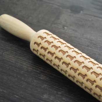 Wooden Embossed Rolling Pin , engraved rolling pin for cookies , Housewarming gift , patterned rolling pins фото