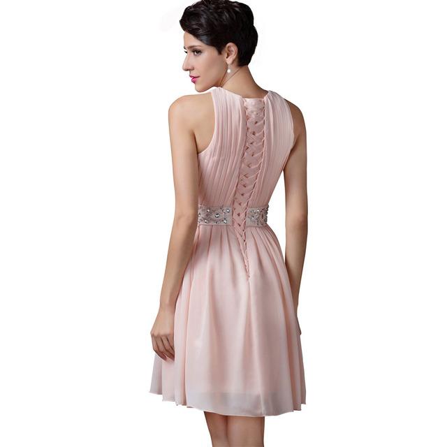 Grace Karin Short Bridesmaid Dresses 2017 Sleeveless Fashion Knee Length Light Pink Adult Women Girls Shining Bridesmaid Dress