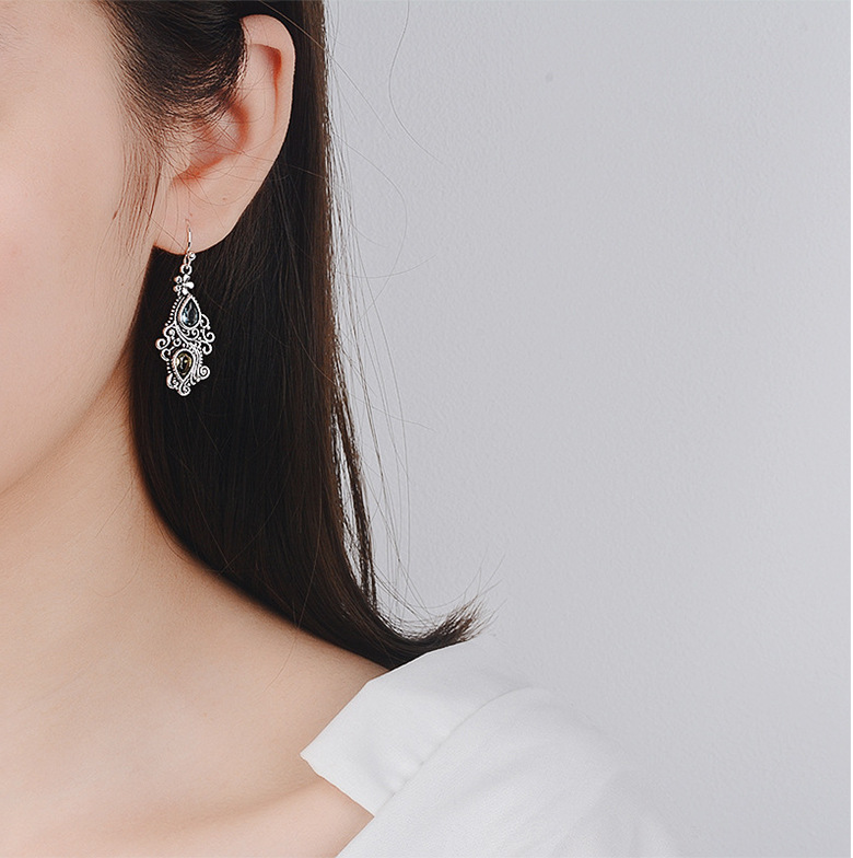 Gemstone Drop Earring Amethyst Peridot Sapphire Crystal for Women 925 Sterling Silver Fine Jewelry Long Dangle Tassel Bizuteria
