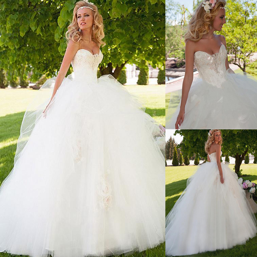 Glamorous Ball Gown Wedding Dress With Beadings & Handmade Flowers Pick Up Skirt Bridal Dress Robe De Mariage