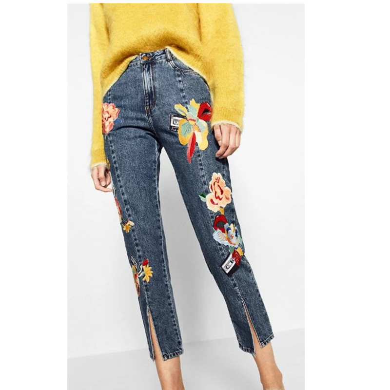 ФОТО New Flower embroidery jeans female Light blue casual pants capris  autumn winter Pockets straight jeans