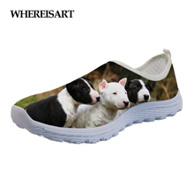 WHEREISART Summer Flats Shoes Women 2019 Lovely Animal Bull Terrier Pattern Womens Comfortable Mesh Light Sneakers for Female