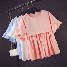 Basic Shirt Women Short Sleeve Womens Tops 2016 Summer Tee Shirts Korean Style Blouse Cotton New Plus Size Blause