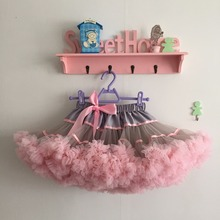 Пачки для девочек на Хэллоуин, праздники, косплей, пачки, серые с розовыми оборками, пачки с атласной лентой, юбки-пачки
