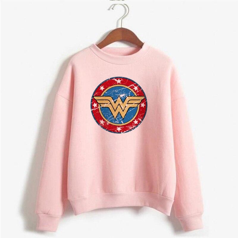 Fashion Wonder Woman Sweatshirt Women Hipster Superman Movie Crewneck Sweatshirts Long Sleeve Pullover Harajuku Hoodies