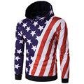Горячая! Осень Мода мужская Толстовки Флаг США Дизайн 3D Clothing Мужской Хип-Хоп Пуловеры Высокое Качество толстовки Мужчин