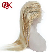 QueenKing hair Lace Front font b Wig b font 180 Density Blonde 613 Silky Straight Preplucked