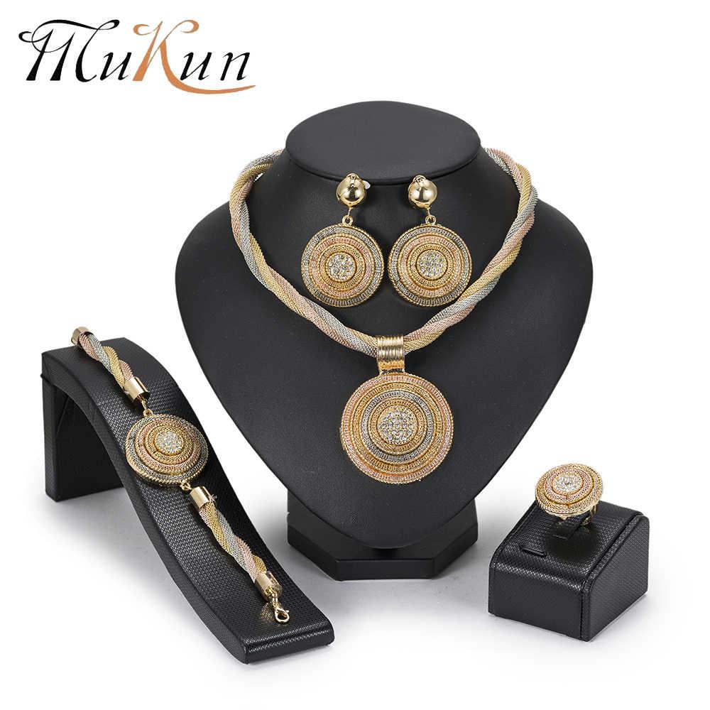 MuKun אופנה 2018 חדש צבע זהב דובאי סטי תכשיטי חרוזים אפריקאים סט תכשיטי שרשרת גדולה צהוב תכשיטי זהב ציפוי קולר