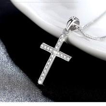 Venta caliente cruces de moda collar de plata de ley 925 contratados Elegante collar de la declaración cadena del cuerpo de las mujeres niños niñas joyería