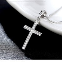 Hot Sale Trendy Crosses 925 Sterling Silver Necklace Contracted Elegant Statement Necklace Women Body Chain Kids
