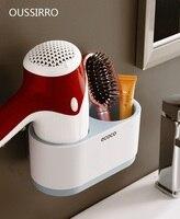 Creative Multi function Bathroom Hair Dryer Hanger Shelf Storage NoPunching Ornamental Waterproof Removable Hanging Organizers