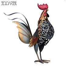 Tooarts โลหะ Statuettes เหล็ก Rooster ตกแต่งบ้านโมเดิร์นบทความ Figurine ที่มีสีสันของขวัญหัตถกรรมสำหรับตกแต่งบ้านอุปกรณ์เสริม
