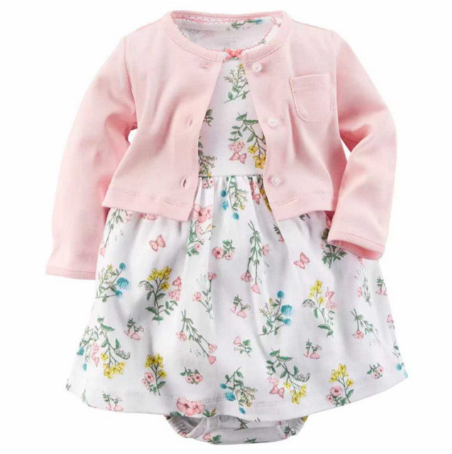 New 2016 Summer Baby Sets Infant Baby Girls Clothes Cute Bodysuit + Dress 2pcs Baby Sports Suit Cotton Imported Clothing V30