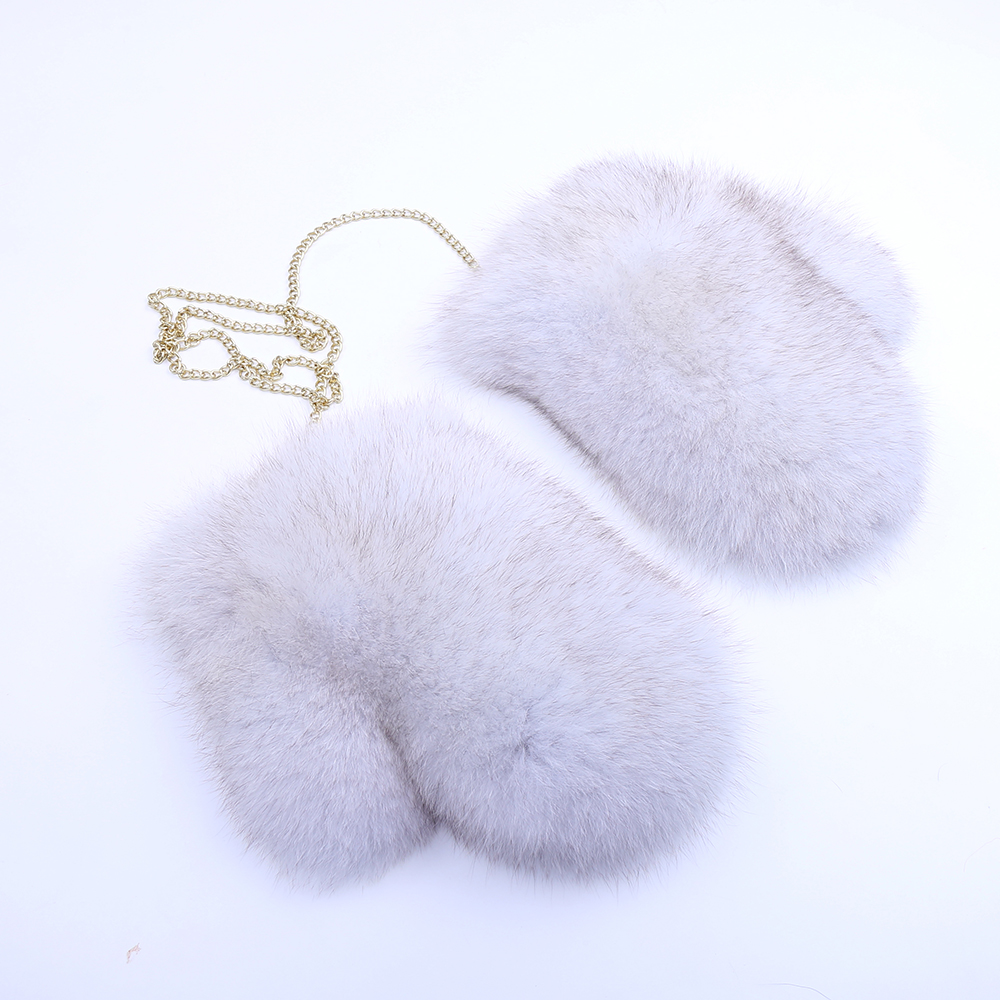 Gants en fourrure de renard pour femmes mitaines gants féminins doublés nouveau gant en cuir véritable chaîne amovible russe fourrure de renard gant blanc hiver