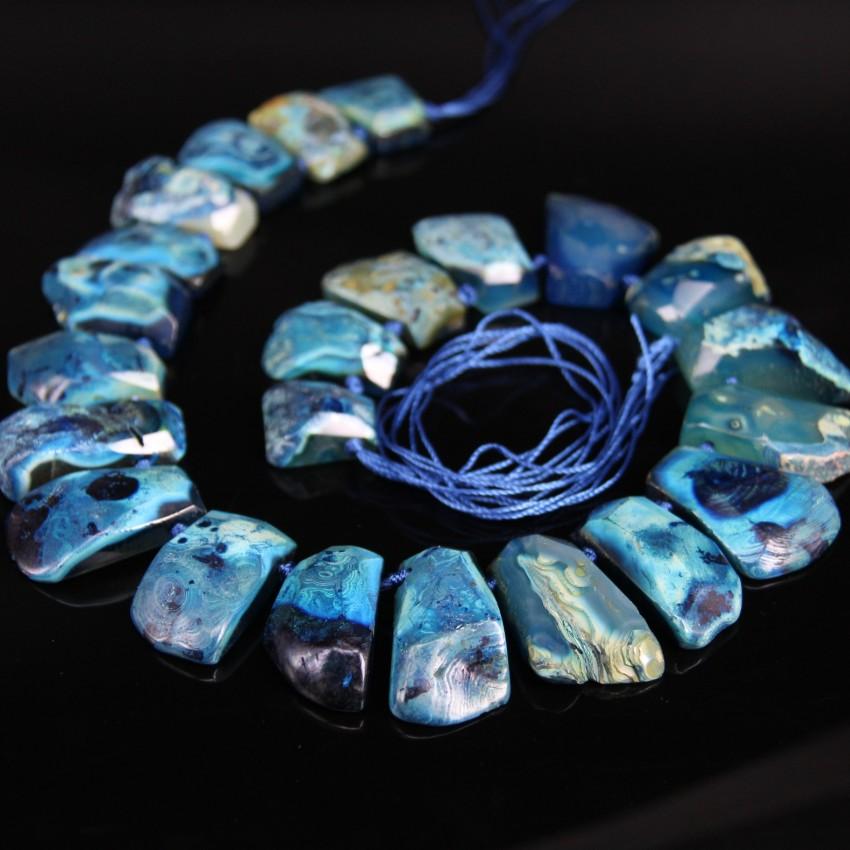 New Arrival!!! Top Drilled Dark Blue Natural Agates Faceted Slab Nugget Beads,Raw Dragon Veins Agates Freeform Slice Pendants