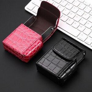 High Quality Leather Cigarette Lighter Cigarette Box hold 20pcs Cigarettes Business men Cigar Case Gadget For Smoker Smoke Tools