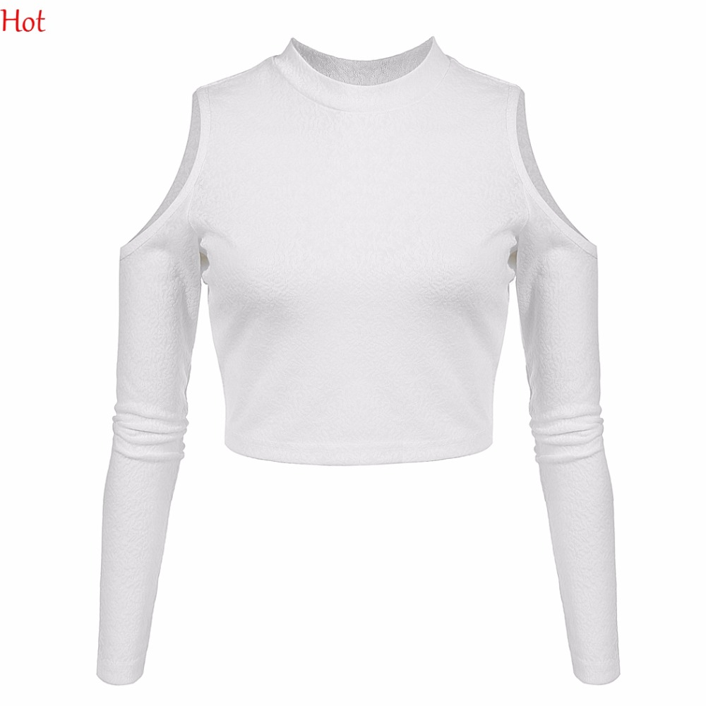 New Hot Women Cropped T-shirt Casual Short Top Sexy Off Shoulder Tshirt Long Sleeve Tees Slim Solid Plus Size T-shirts YC001111