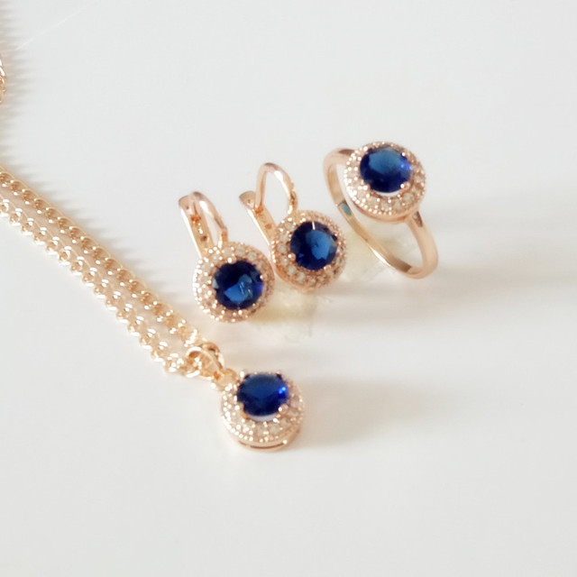 Luxurious Bridal Jewelry Sets Rose Gold Color Jewelry Set  New Fashion Necklace + Earring +Ring Jewelry Sets for Women