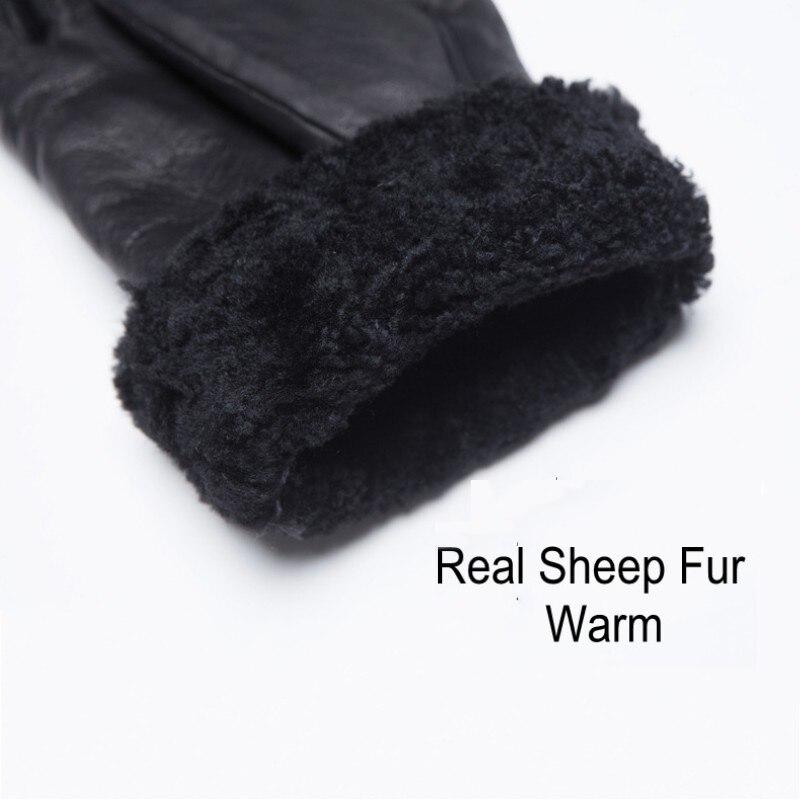 Gants de luxe en cuir de vache véritable homme femme vraie fourrure de mouton gants de conduite chauds mitaines de petit ami d'hiver en gants d'italie - 6