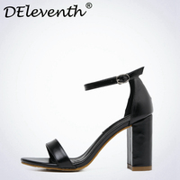 DEleventh Office Lady Women Sandals Black Shoes Sandals Buckle Strap Open Toe Square High Heels Vogue
