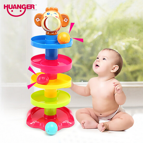 Huanger Pile Tower Puzzle Baby Rolling Ball Bell Toys Kids Rattles Ring 0 24months Child Newborn