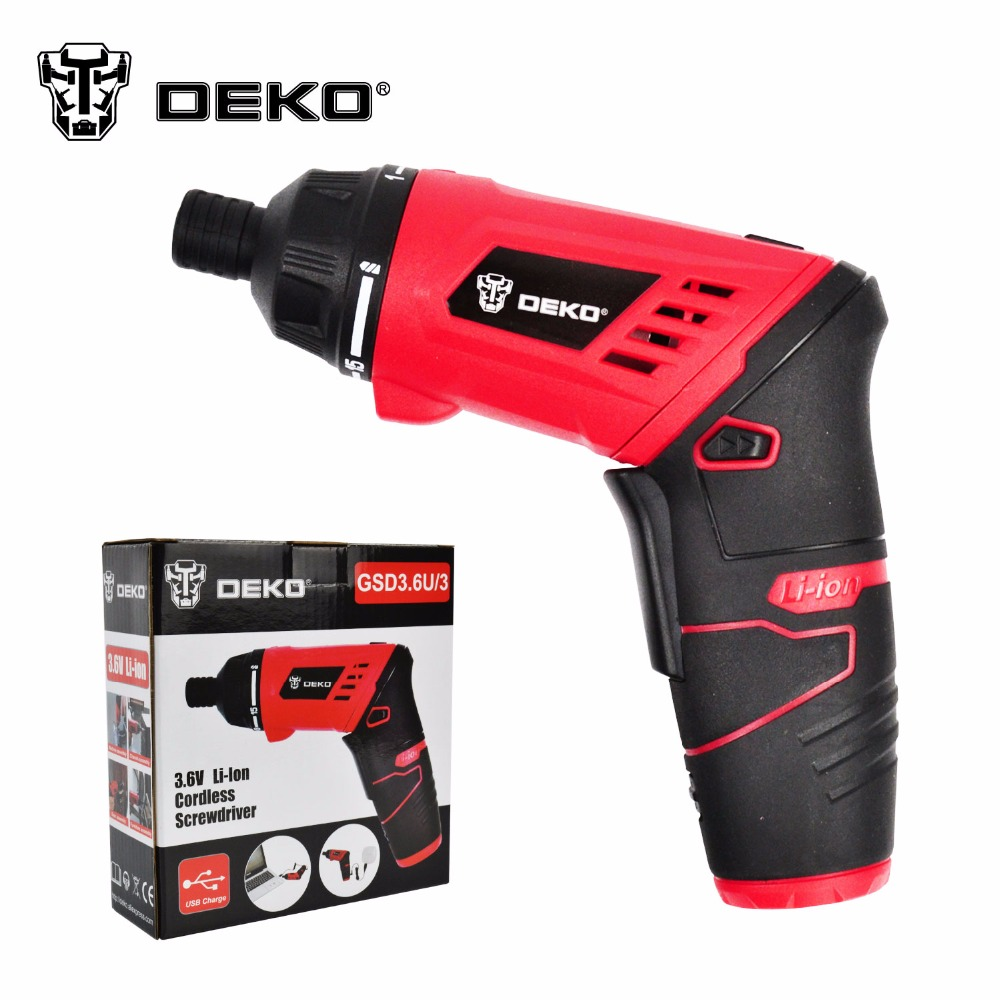 DEKO 3.6V Electric Battery Power Screwdriver Foldable Adjustable cordless screwdriver Mini drill Household DIY With LED