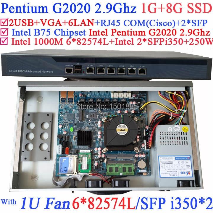 Ethernet router 1U Firewall with 6 1000M 82574L Gigabit Nics 2 i350 SFP ports Intel Pentium