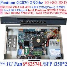 Маршрутизатор Ethernet 1U Брандмауэр с 6*1000 М 82574L Гигабитные сетевые контроллеры 2 * i350 SFP порты Intel Pentium G2020 2.9 ГГц 1 Г RAM 8 Г SSD
