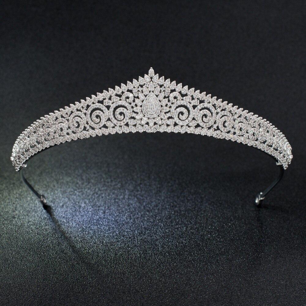 Luxuoso Clássico Cubic Zirconia Nupcial Do Casamento Da Tiara Da Menina Das Mulheres Jóias Acessórios de Cabelo Cristais Tiaras S17803