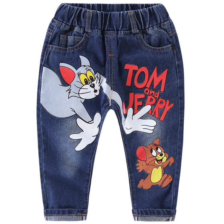 2-8y Hot baby boys jeans cartoon vetement enfant fille long trousers 2019 spring & summer blue kids denim pants for girls(China)