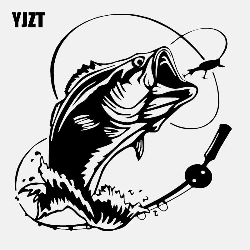 YJZT 16.5CM*16.5CM Car Sticker Bass Fish Ocean Sea Car Truck Window Vinyl Decal Black/Silver C24-0729