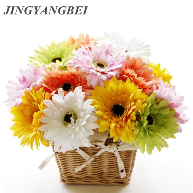 10pcs Colorful Silk Sunflower Artificial Daisy Flower Gerbera Daisy Bouquet Home  Decor Craft For Party Decoration