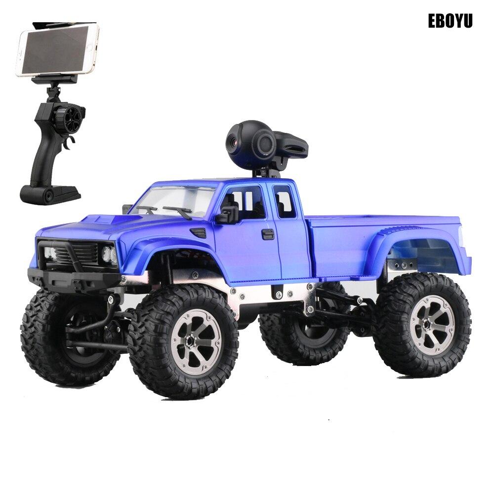 EBOYU FY002A + WiFi 2.4 Ghz 1/16 4WD neige pneus camion tout-terrain RC camion avec lumière avant WiFi FPV 0.3MP caméra camion militaire RTR