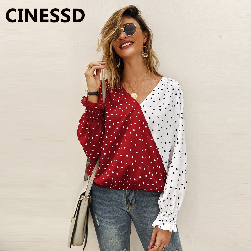 CINESSD Women Patchwork Polka Dot Blouse Casual Tops V Neck Long Sleeves Red 2019 Autumn Winter Office Ladies Blouses Tee Shirts