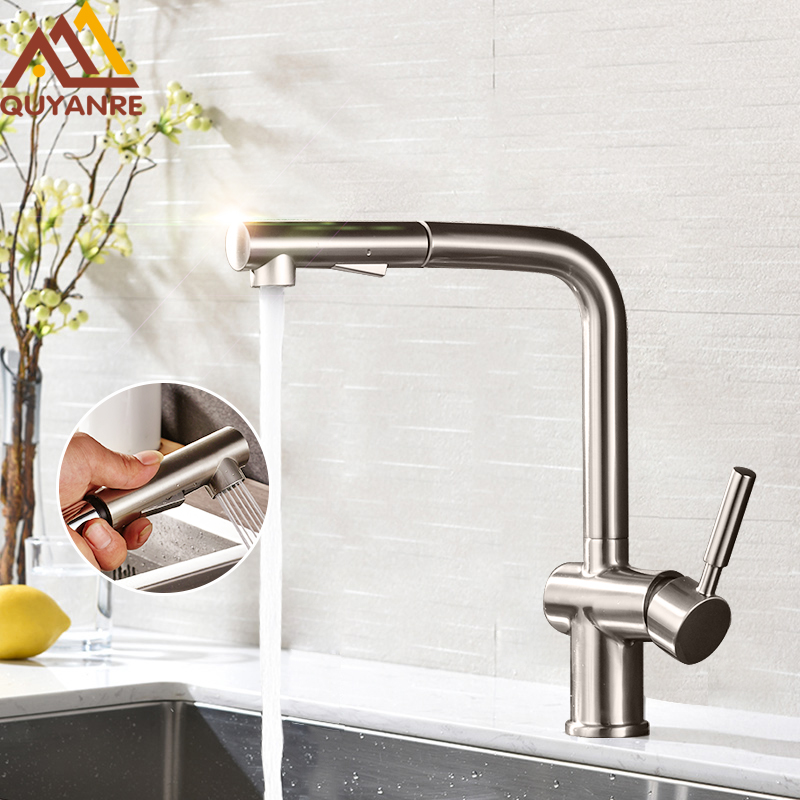Quyanre Brushed Nickel Pull Out Kitchen Faucet 360 Rotation H/C Mixer Tap Pull Out Spray Kitchen Basin Faucet Torneira Cozinha group 10 cup pull 3 in c c polished nickel