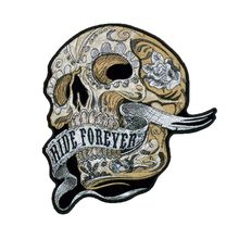 Ride forever skull patch motorcycle embroidery iron on custom punk patches for clothing biker stickers(China)