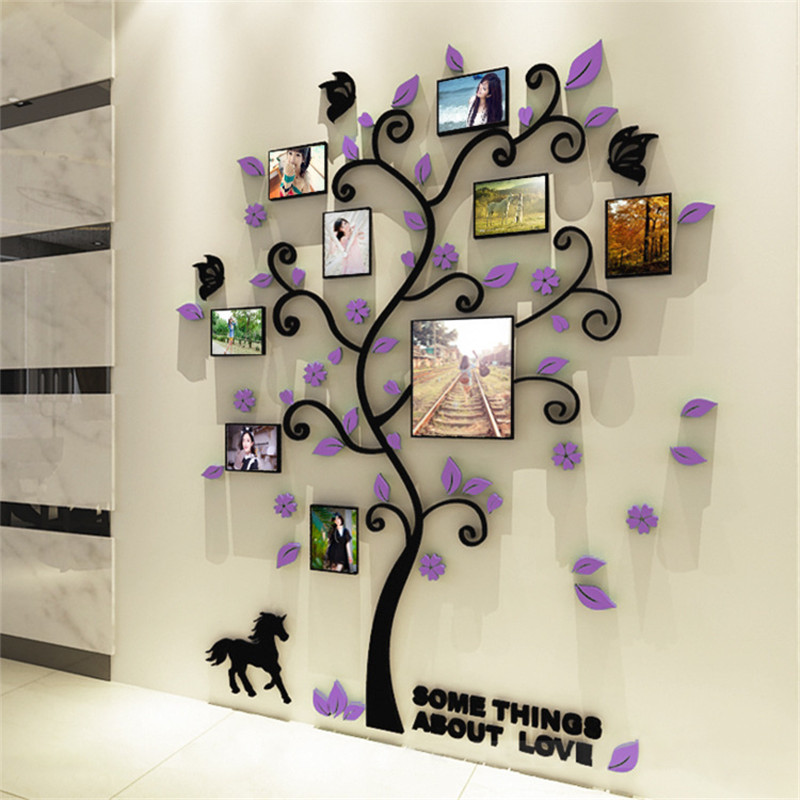 KEDODE Creative 3D Acrylic Solid Wall Hanging TV Picture Frame Tree Wall Sofa Background Wall Decoration in Wall Stickers from Home Garden