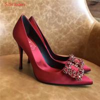 Fashion Crystal Women Pumps High Heels Red Blue Ladies Shoes Woman Bridal Wedding Shoes Hollow Pointed Toe Women Shoes Zapatos
