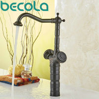 Becola New Design Oil Rubbed Black Antique Brass Faucet Dual Handle Bathroom Basin Sink Mixer Tap