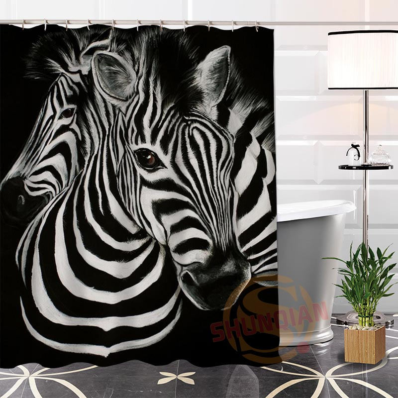 Modern Fashion Custom zebra@1 Fabric 100% Polyester Shower Curtain bathroom Waterproof Hot Sale H0223-109