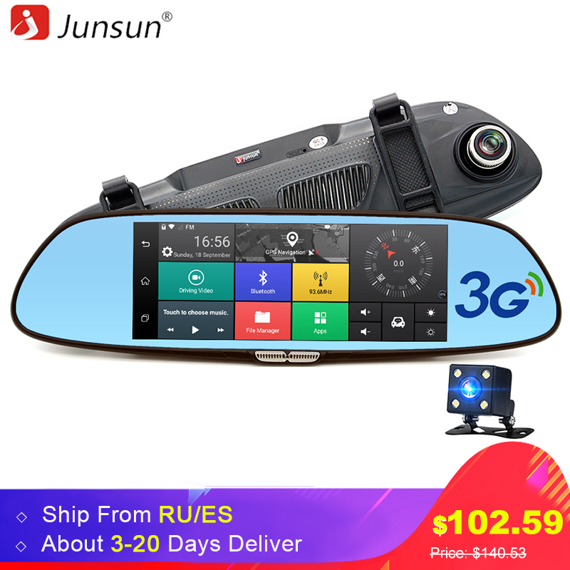 junsun 7 3g car camera dvr gps bluetooth dual lens rearview mirror video recorder full hd 1080p. Black Bedroom Furniture Sets. Home Design Ideas