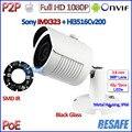 Câmera de 2MP POE 1080 P p2p ip câmera ao ar livre quente IMX323 Sensor Night Vision CCTV Lente HD, suporte gratuito, IR-CUT, H.264, ONVIF 2.4