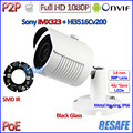 Caliente de la cámara de 2MP POE 1080 P p2p cámara ip al aire libre IMX323 Sensor de Visión Nocturna CCTV Lente de ALTA DEFINICIÓN, soporte gratuito, IR-CUT, H.264, ONVIF 2.4