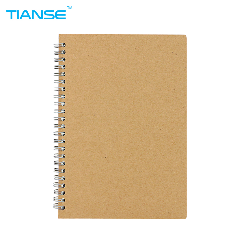 TIANSE A5 Kraft cover paper notebook student diary coil note book spiral notepad memo for journal planner school office suppiles